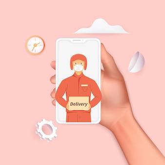 스마트폰을 들고 온라인 배송 서비스 또는 배송 추적 모바일 개념