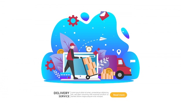 Online delivery service. order express tracking concept with tiny character and cargo box truck.