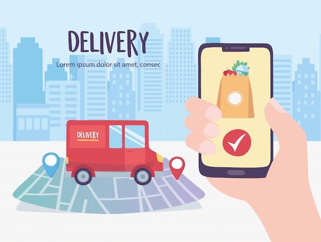 Онлайн служба доставки, грузовик на навигационной карте, смартфон, заказ коронавируса