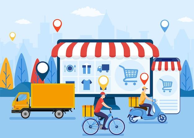 온라인 배송 서비스 ui. 인터넷 배송 개념.