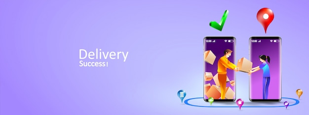 Online delivery services by smartphone. express delivery mobile concept by courier and customer door to door. illustration