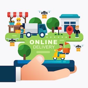 온라인 배달 서비스 개념, 손을 잡고 모바일 온라인 주문 추적. 온라인 쇼핑 주문