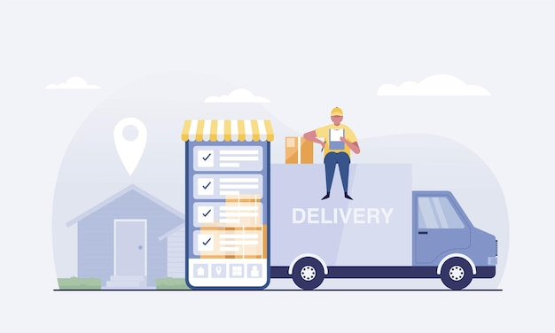 Концепция службы автофургона онлайн-доставки. коробка доставщик. найдите адрес клиента с помощью мобильного приложения. векторная иллюстрация