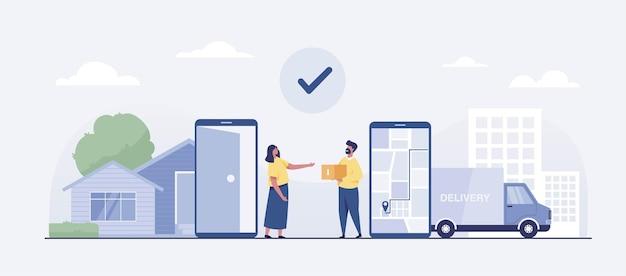 Концепция службы автофургона онлайн-доставки. векторная иллюстрация