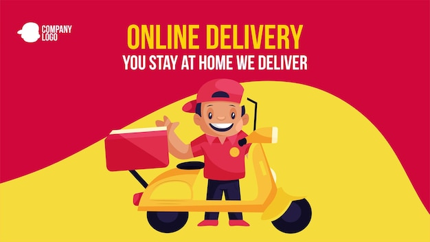 Online delivery you stay at home we deliver banner design