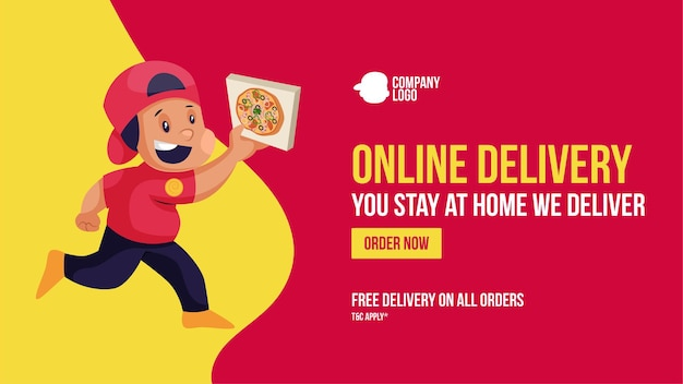 Online delivery you stay at home we deliver order now banner design
