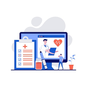Online diagnosis concept with character. online doctor medical consultation and support.