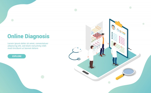 Online diagnosis health medical consultation isometric flat style for website template landing homepage