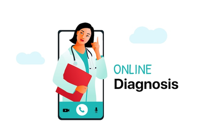 Online diagnosis medical concept. medical consultation via the internet.