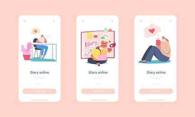 オンライン日記モバイルアプリページオンボード画面テンプレート。巨大な日記の執筆ノート、計画の取引での小さな女性キャラクター