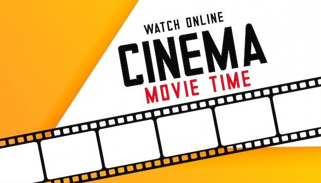 Online digital cinema movie time background with film strip