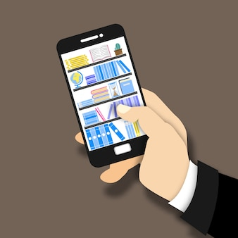 Online digital library. hand holds smartphone, finger touches screen.