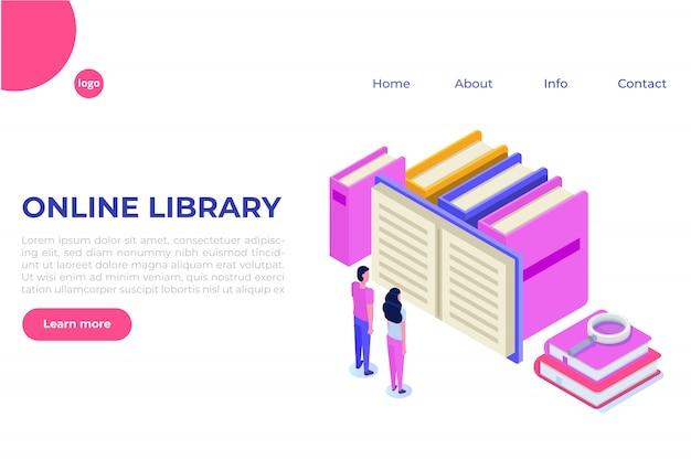 Online digital library isometric, online book shop, e-learning, ebook.  illustration.