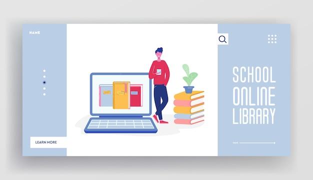 ビッグラップトップから本を読んでいる人の文字のオンラインデジタルライブラリランディングページのコンセプト。メディアライブラリのウェブサイトテンプレート、電子図書館、ウェブページのイラストデザインについて学ぶための電子ブック。