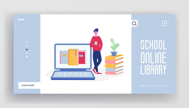 Online digital library landing page concept of people character reading books from big laptop. media library website template, ebook to study on e-library, web page illustration design.