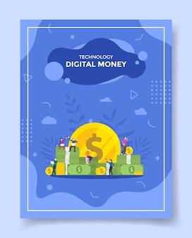 Интернет-концепция цифровых денег для шаблона флаера