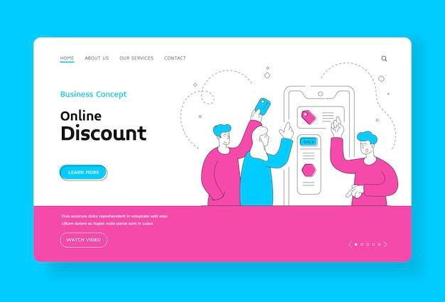 オンライン割引のランディングページのバナーテンプレート。販売中のオンラインショッピングでスマートフォンを使用して商品を選択し、購入代金を支払う男性と女性。フラットスタイルのイラスト、細い線画のデザイン