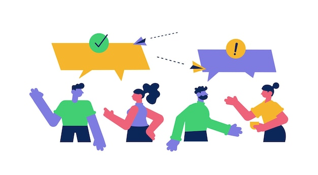 Online discussion between people with speech bubbles