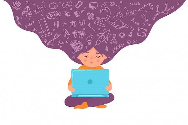 Онлайн, дистанционное обучение детей. девушка работает на ноутбуке. концепция домашнего обучения. малыш с образовательным каракули. иллюстрации.