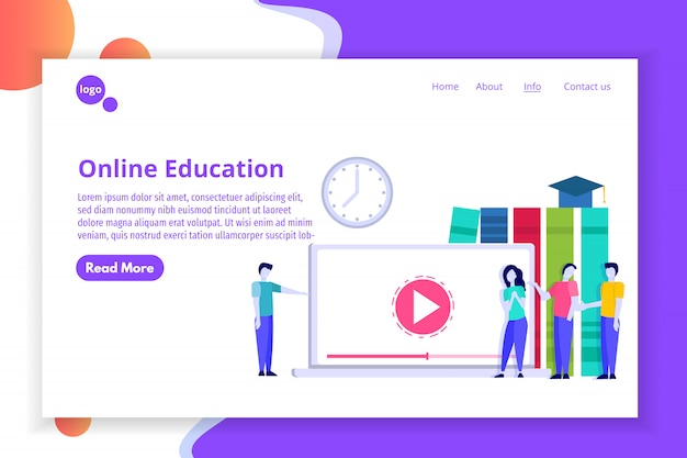 Online distance education concept, internet studying, e-learning  training courses.  illustration.