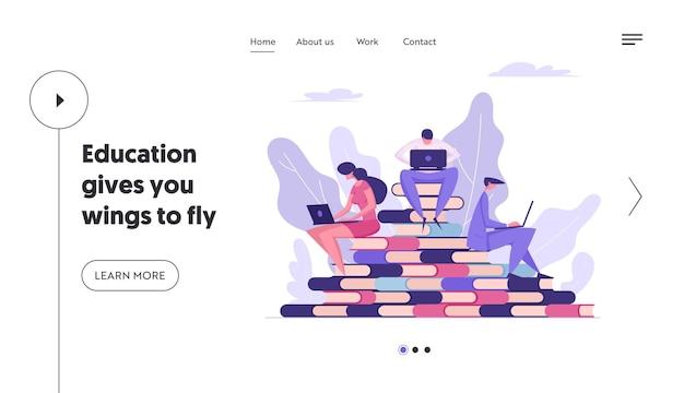 Online distance education concept landing page