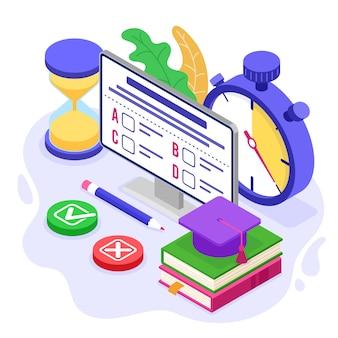 Online distance education exam test