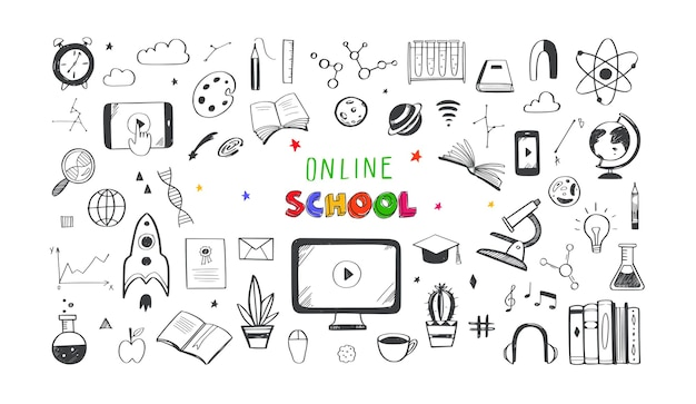 온라인 거리 교육 홈 스쿨링 아이콘 모음