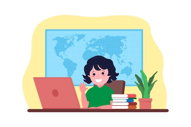 オンライン遠隔教育。その少年は自宅からオンラインでコンピューターを使って勉強しています。学校のコンセプトに戻ります。フラットスタイルのベクトルイラスト。