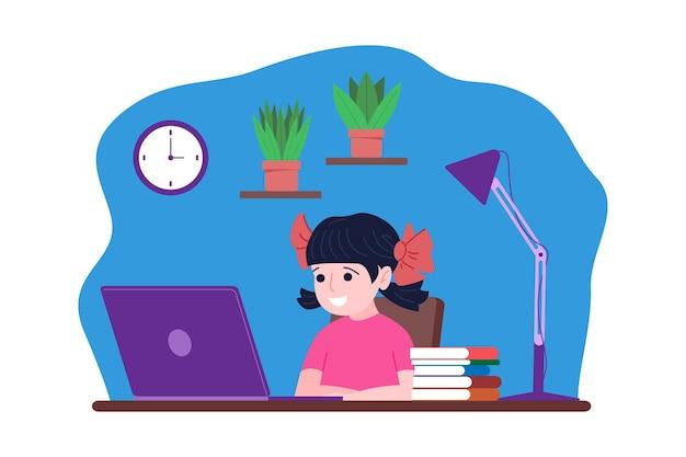 온라인 원격 학습. 그 소년은 집에서 온라인으로 컴퓨터로 공부하고 있습니다. 학교 개념으로 돌아가기. 평면 스타일의 벡터 일러스트 레이 션.