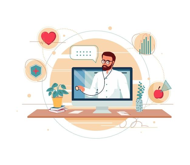オンライン医師のアドバイスや相談サービスフラット漫画イラスト