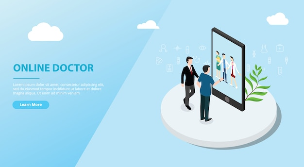 Online doctor app service for website template