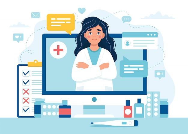 Онлайн прием врача. женский доктор на экране компьютера.