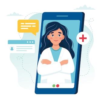 Онлайн прием врача. женский доктор на экране смартфона.
