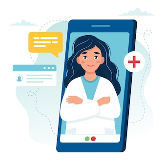 Online doctor appointment. female doctor on the smartphone screen.