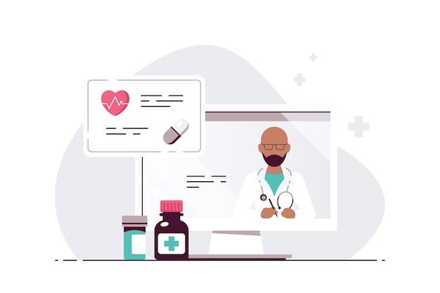 Концепция онлайн-врача, консультации и диагностика. врач черный человек на экране монитора компьютера. плоский стиль иллюстрации изолированы