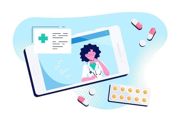 Концепция онлайн-врача, консультации и диагностика. кавказская женщина-врач на экране смартфона. плоский стиль иллюстрации изолированы
