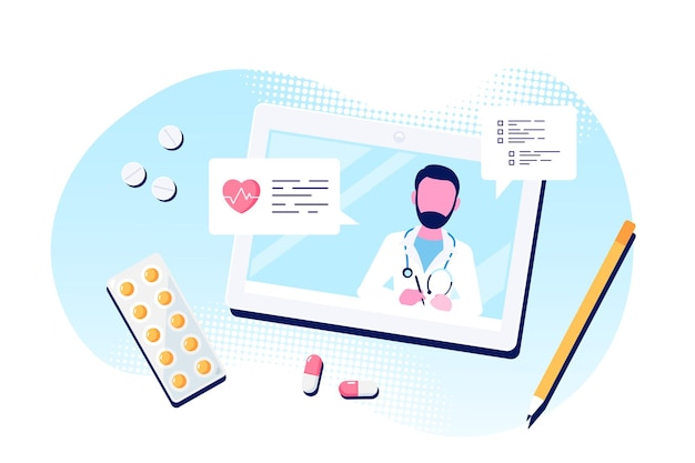 Online doctor concept, consultation and diagnosis. caucasian man doctor on tablet screen. flat style illustration isolated