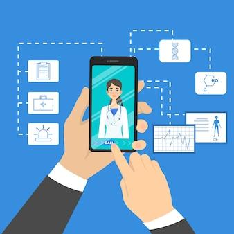オンライン医師の概念。スマートフォンを介してインターネットで専門家と相談。ヘルスケアと治療。漫画のスタイルのイラスト