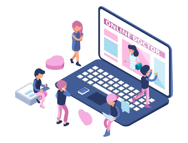 Online doctor concept. internet medical consultation. appointment to doctor online. isometric people, healthcare vector illustration. online diagnosis and consultation, medicine isometric consultant
