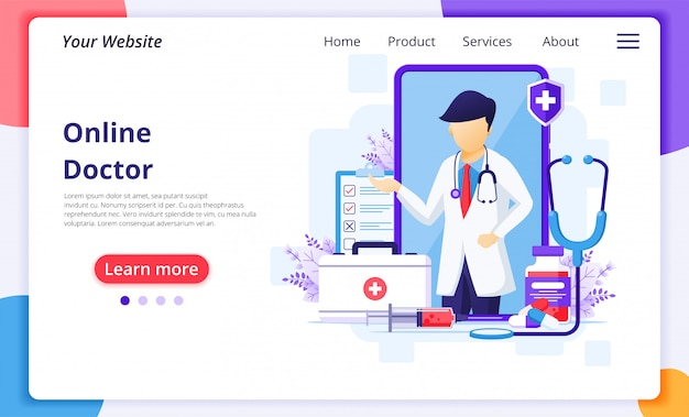 Online doctor concept, online medical health care assitance illustration. website landing page design template