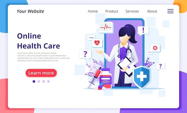 Онлайн концепция доктора, онлайн медицинская иллюстрация помощи здравоохранения. шаблон оформления целевой страницы сайта