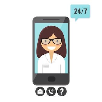 オンライン医師の概念。スマートフォンによる患者相談、医療支援アプリ。
