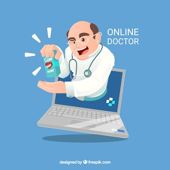 Online doctor concept with doctor in laptop