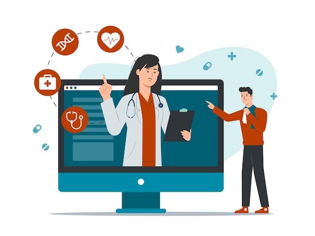 컴퓨터 화면에서 환자를 만나는 여성 의사와 온라인 의사 개념