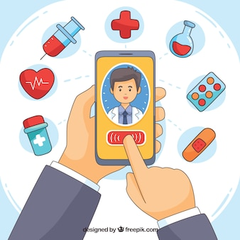 Online doctor concept with hands holding smartphone