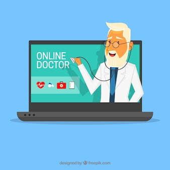 Online doctor concept with laptop