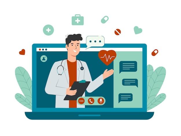 Концепция онлайн-врача с персонажем-врачом-мужчиной на экране ноутбука