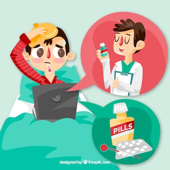 Online doctor concept with man in bed