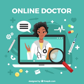 Online doctor concept with woman in laptop