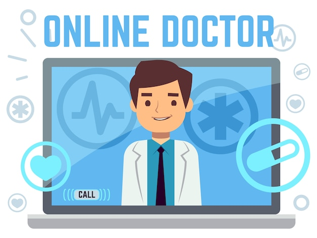 Online doctor consultant flat icons